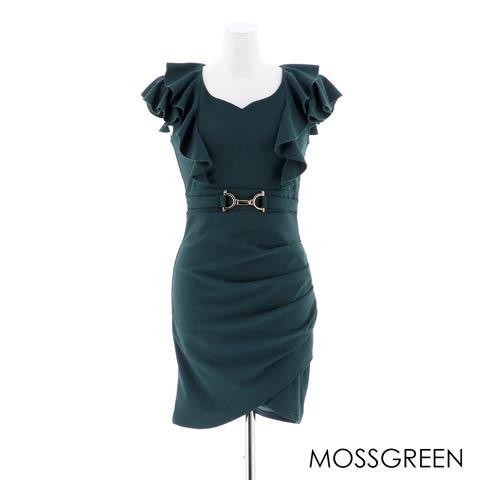 [S/Mサイズ]ワンカラーサイドギャザーフリルスリーブタイトミニドレス[2サイズ展開](モスグリーン-S)