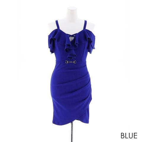 [SMLサイズ]ワンカラーデコルテ魅せタイトミニドレス[3サイズ展開](ブルー-Sサイズ)