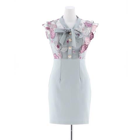 [SMLサイズ]リボン付きフラワー刺繍タイトミニドレス[3サイズ展開](ブルー-Sサイズ)