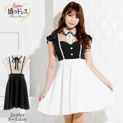 【盛りドレス】[SMLサイズ]ボウタイリボン水玉Aラインミニドレス[3サイズ展開]