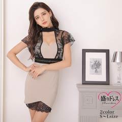 【盛りドレス】[SMLサイズ]バックリボンシースルーレースタイトミニドレス[3サイズ展開]