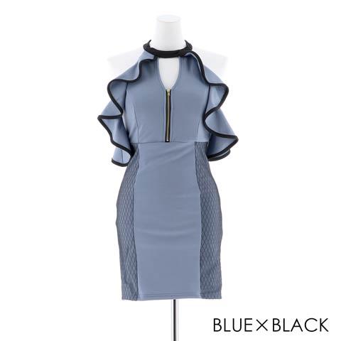 [SMLサイズ]アメスリフリルxフロントジップタイトミニドレス[3サイズ展開](ブルーXブラック-S)