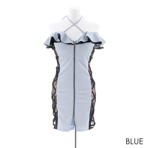 [SMLサイズ]フロントファスナーオフショルタイトミニドレス[3サイズ展開](ブルー-Sサイズ)