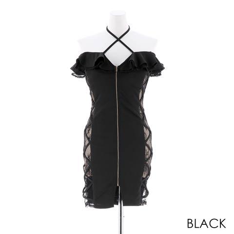 [SMLサイズ]フロントファスナーオフショルタイトミニドレス[3サイズ展開](ブラック-Sサイズ)