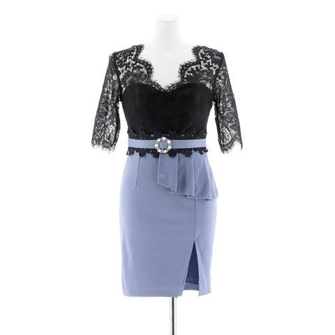 [SMLサイズ]5部袖レースタイトミニドレス[3サイズ展開](ブラック×ブルー-Sサイズ)