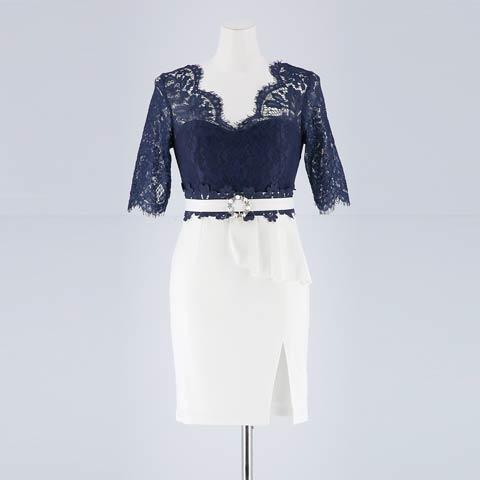 [SMLサイズ]5部袖レースタイトミニドレス[3サイズ展開](ネイビー×ホワイト-Sサイズ)