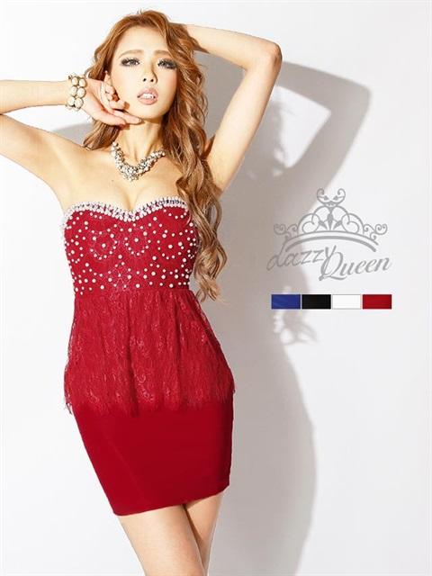 刺繍レースベアタイトミニドレス
