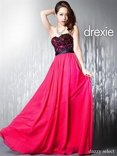 [drexie]刺繍レースAラインベアロングドレス