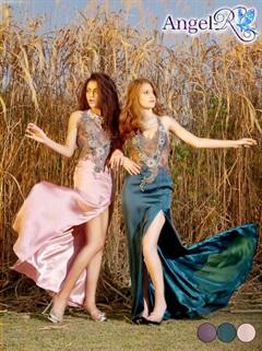 【P★10倍】[Angel R]フラワー刺繍飾り付ウエスト透け背中魅せロングドレス[送料無料]
