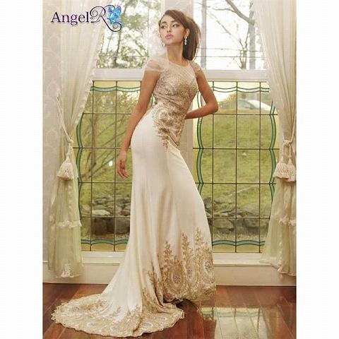[AngelR]ゴージャスレーススタンダードロングドレス[AR5501](1.ホワイト)