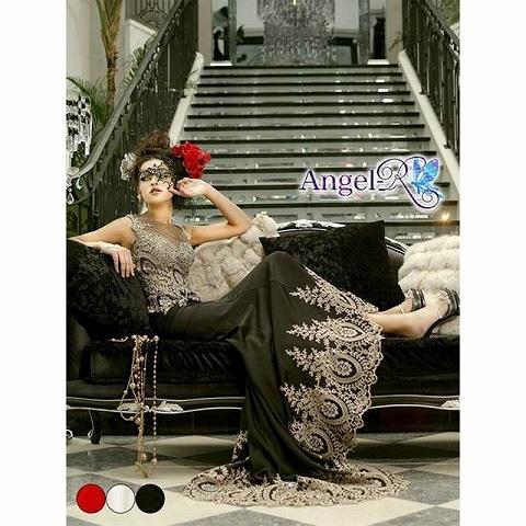 [AngelR]ゴージャスレーススタンダードロングドレス[AR5501](3.ブラック)