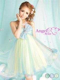 [AngelR-PETIT-]胸元リボンチュール仕立てベアフレアミニドレス[PT-120]
