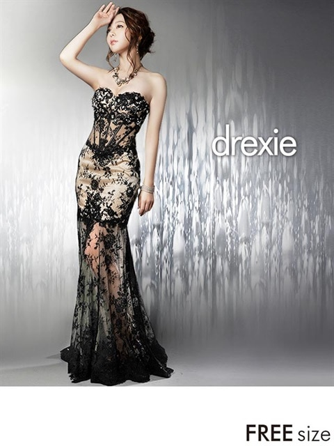 [drexie]透け素材MIX総レースロングドレス