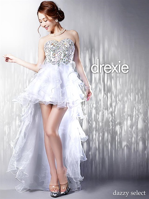 [drexie]バック編み上げティアードフリルテールカットロングドレス