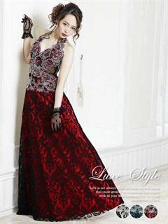 【P★10倍】[LuxeStyle]豪華絢爛刺繍レースホルターロングドレス[15014][送料無料]