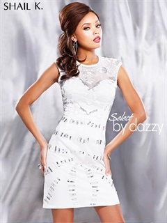 【L.A. SHAIL K】ホワイト×シルバービーズ刺繍背中開きデザインカクテルミニドレス[3717][送料無料]