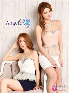 【P★10倍】[Angel R]シースルーボタニカルレースペプラムベアタイトミニドレス[AR5503][送料無料]