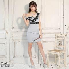 [SMLサイズ]ボリュームフリルオフショルモノトーンタイトミニドレス[3サイズ展開]