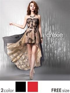 [drexie]豪華刺繍付きレース背中編み上げベアテールカットロングドレス