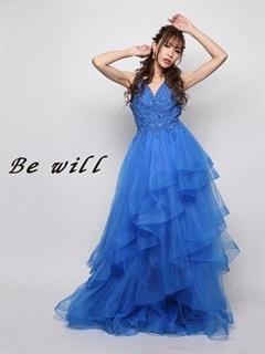 [Be will]オーロラビジュー付ティアードフリルAラインロングドレス[D-4954][送料無料]