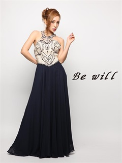 [Be will]ビジュー付アメスリシフォンAラインロングドレス[D-4906][送料無料]