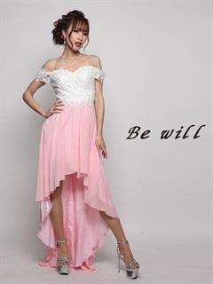 [Be will]刺繍レースオフショルシフォンテールカットロングドレス[D-4959][送料無料]