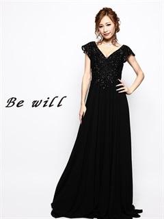 [Be will]刺繍レースVカットノースリAラインロングドレス[D-4919][送料無料]