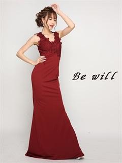 [Be will]刺繍レースノースリワンカラータイトロングドレス[D-4921][送料無料]