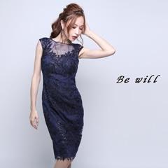 4/9UP[Be will]ゴージャスフラワーレースタイト膝丈ドレス[D-5177][送料無料]