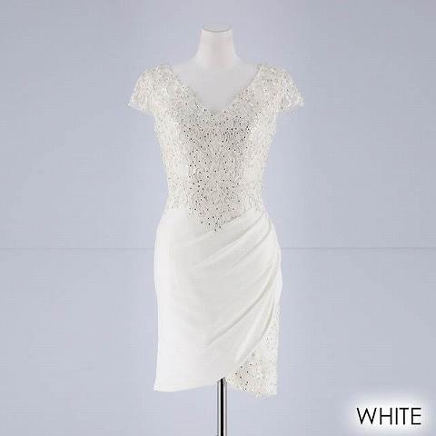 [Lip line]刺繍入りワンカラータイトミニドレス[B-0524](ホワイト-S)