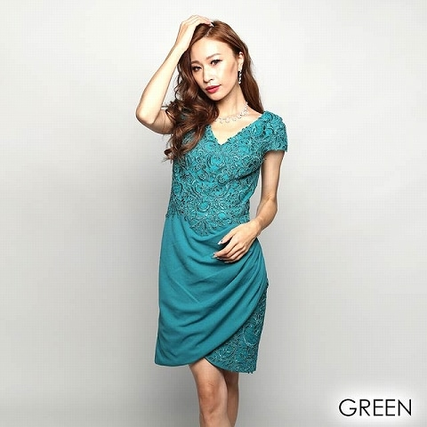 [Lip line]刺繍入りワンカラータイトミニドレス[B-0524](グリーン-S)