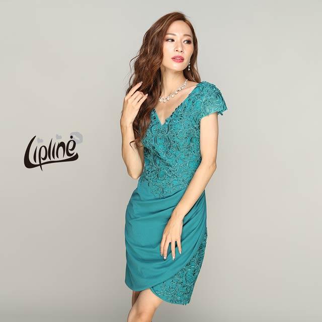 [Lip line]刺繍入りワンカラータイトミニドレス[B-0524]