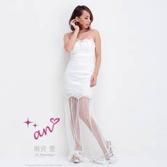 [an]胸元ビジュー付ワンカラー裾チュールロングドレス[AOC-2080][送料無料]