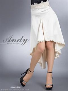 [Andy]マットサテン裾刺繍レースティアードAラインスカート単品[AN-SK079]
