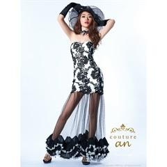 [couture an][2way]総刺繍レースベアチュールロングドレス[AOC-2052][送料無料]