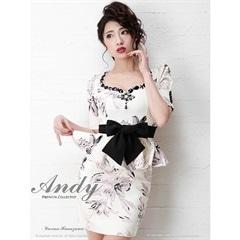 [Andy]ウエストリボン花柄ジャガードペプラムタイトミニドレス[AN-OK1457][送料無料]