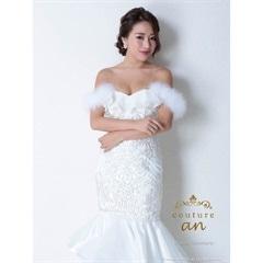[couture an][2way]ファー付オフショル刺繍レースマーメイドロングドレス[AOC-2668][送料無料]