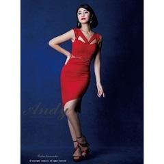 [Andy]ワンカラーカットアウトノースリタイトドレス[AN-OK1573][送料無料]