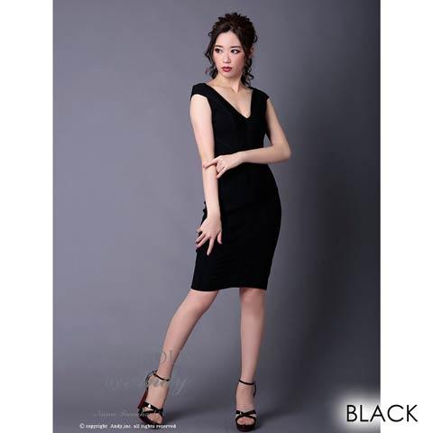 [Andy]谷間魅せワンカラータイトミニドレス[GMS-V505](ブラック-Sサイズ)
