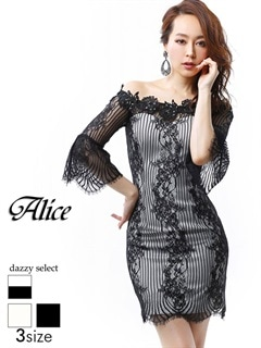 【P★10倍】[Alice][SMLサイズ]透け縦縞七分袖タイトミニドレス[3サイズ展開][52650][送料無料]