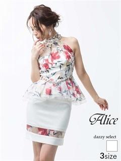 【P★10倍】[Alice][SMLサイズ]フラワープリントペプラムタイトミニドレス[3サイズ展開][52719]