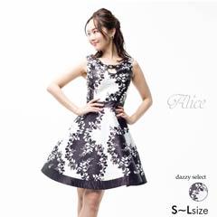 【P★10倍】[Alice][SMLサイズ]モノトーンボタニカルプリントAラインミニドレス[3サイズ展開][52719][送料無料]
