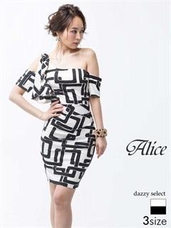 【P★10倍】[Alice][SMLサイズ]幾何学柄ワンショルタイトミニドレス[3サイズ展開][52723]