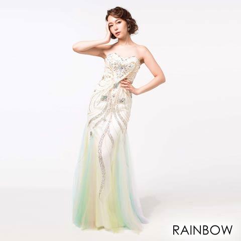 [Alice]デコルテ透け刺繍レースノースリタイトミニドレス(レインボー-Sサイズ)