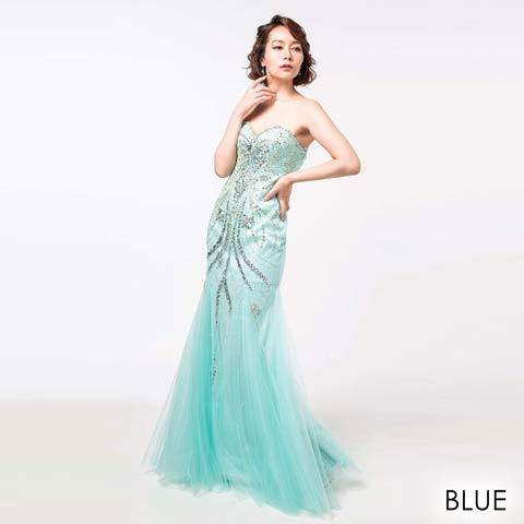 [Alice]デコルテ透け刺繍レースノースリタイトミニドレス(ブルー-Sサイズ)