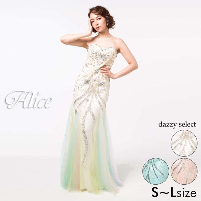 [Alice]デコルテ透け刺繍レースノースリタイトミニドレス