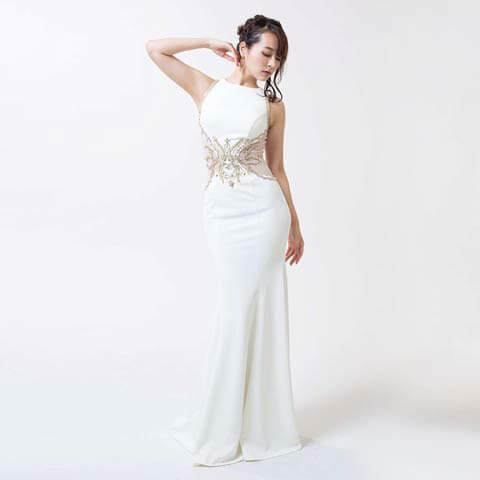 [Luxe Style][51701]ビジュー刺繍バックシースルーマーメイドロングドレス(ホワイト-S)