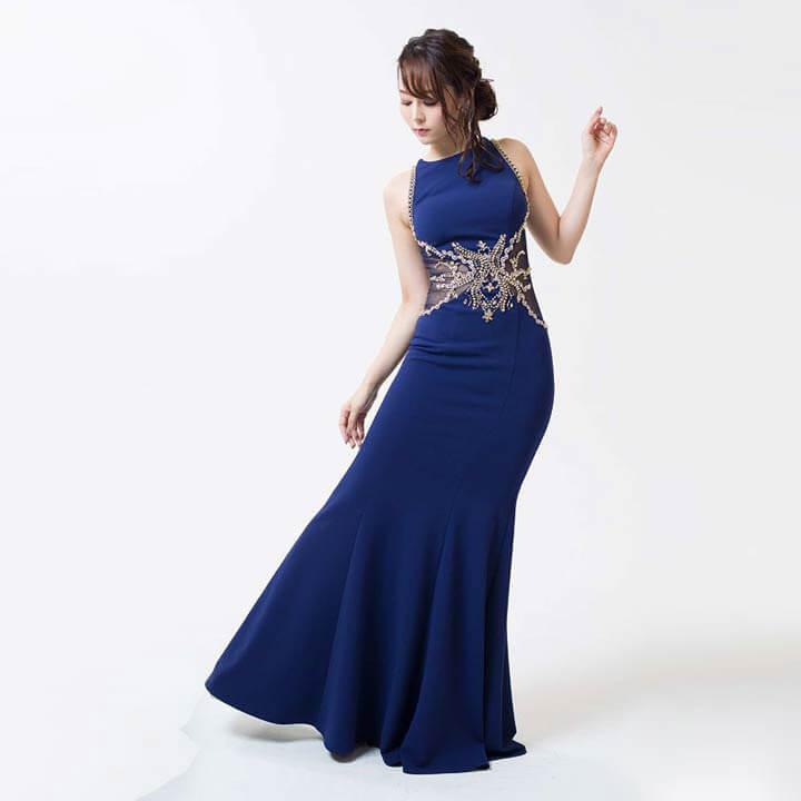 [Luxe Style][51701]ビジュー刺繍バックシースルーマーメイドロングドレス(ネイビー-S)