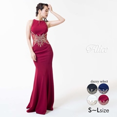 【P★10倍】[Luxe Style][51701]ビジュー刺繍バックシースルーマーメイドロングドレス[送料無料]