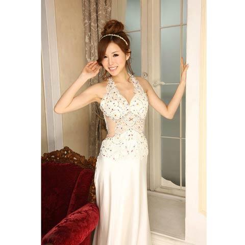 [LuxeStyle]豪華ビジュー付きウエスト透けホルターサテンロングドレス[91102L](ホワイト-S)